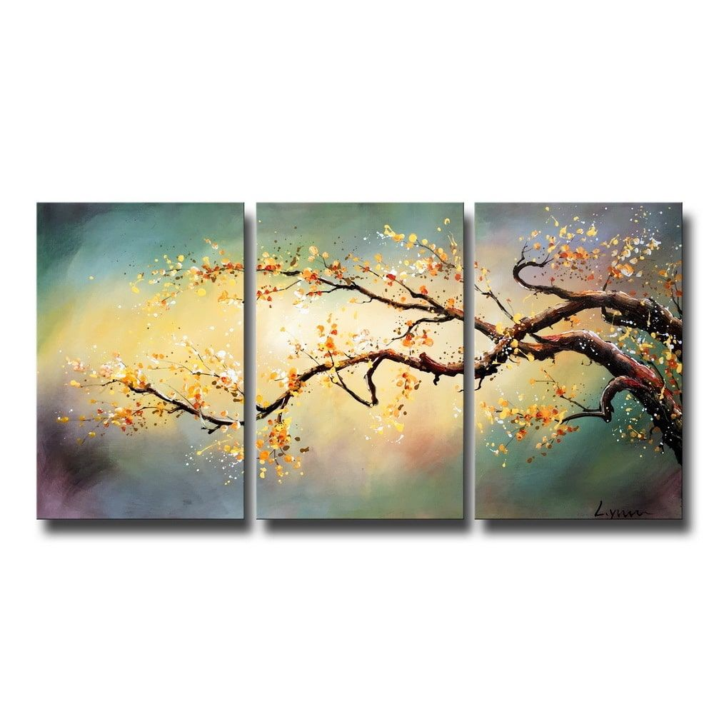 Hand-painted \'Yellow Plum blossom\' 3-piece Gallery-wrapped Canvas ...