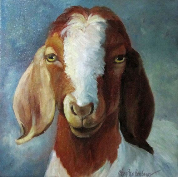 Original Oil Painting Animal Art Spotted Goat by ChatterBoxArt, $195.00
