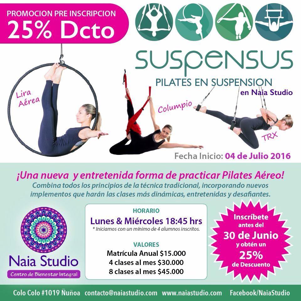 PILATES SUSPENSUS en NAIA Studio Ñuñoa a partir de Julio!!!  Descubre el nuevo estilo de Pilates Aereo con implementos como la Lira, TRX y columpio!! #naiastudio #pilates #pilatesaereo #pilateslovers #pilatessuspensus #suspensus #suspensusfitness #aerialfitness #aeropilates #naiapilates #aeroyoga #beaerial #suspensiontraining