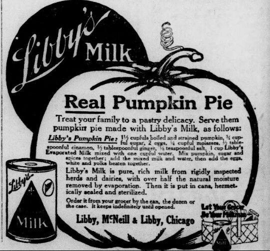 Vintage Recipe Libbys Pumpkin Pie Newspaper Magazine (Pre-1922)