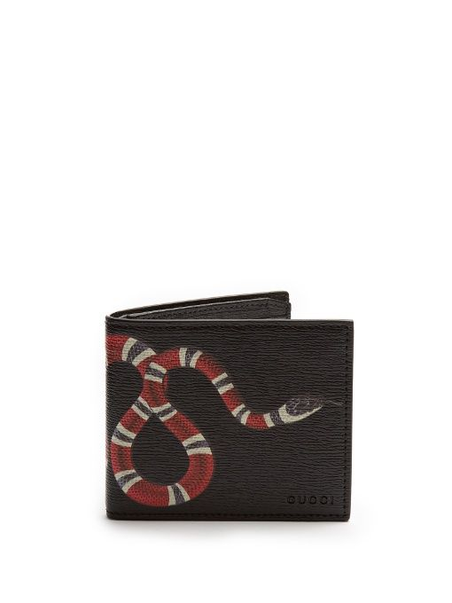 554629712ea GUCCI Snake-print grained-leather wallet.  gucci  wallet