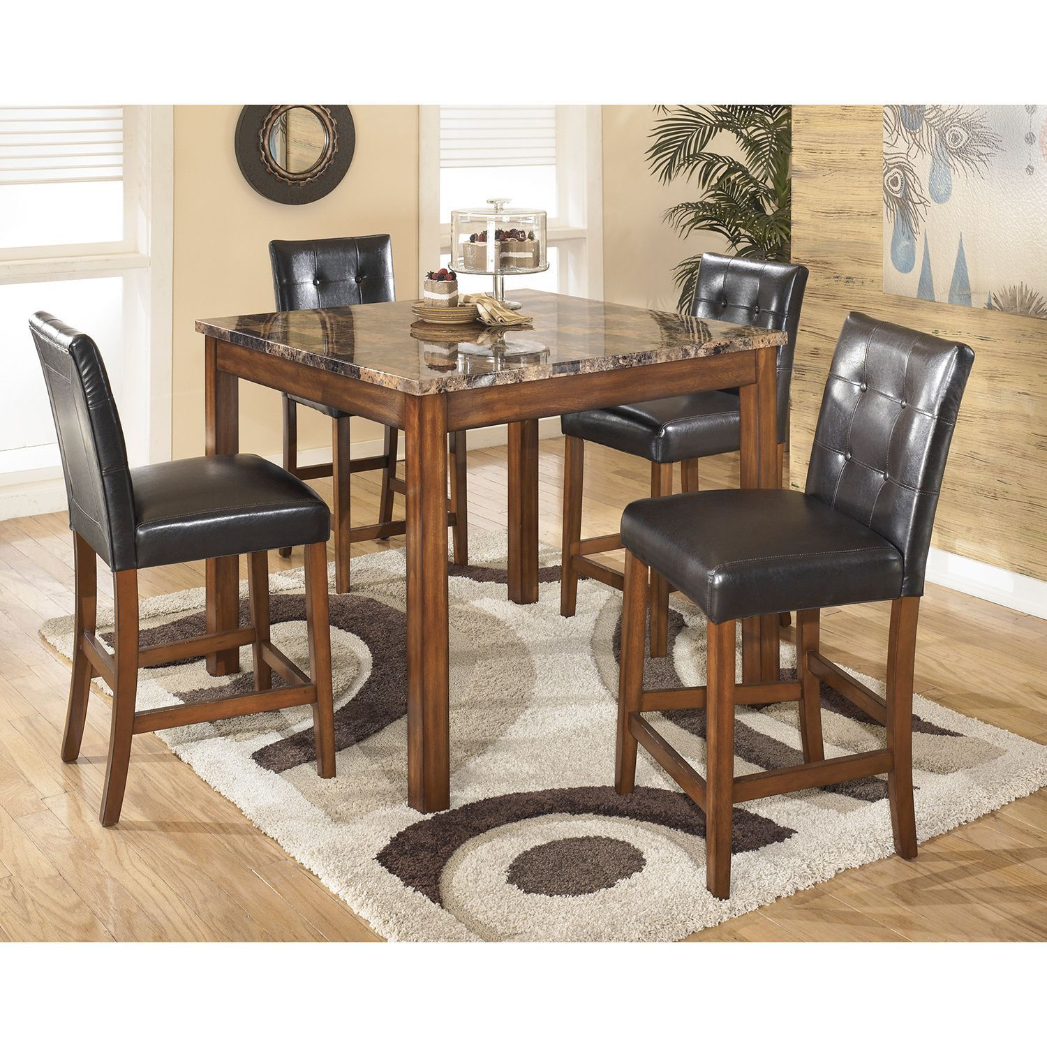 Signature design by ashley theo square counter table set by
