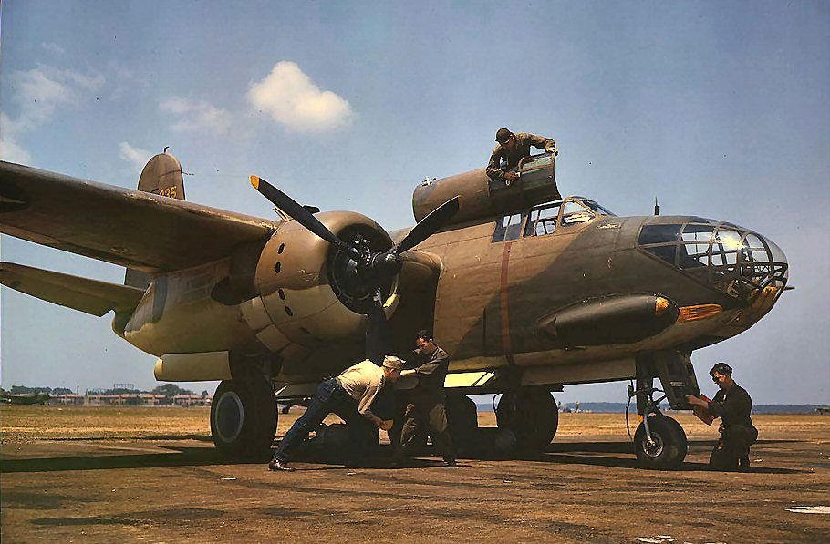 A-20C Havoc being serviced at Langley Field, Virginia, United States, July 1942.