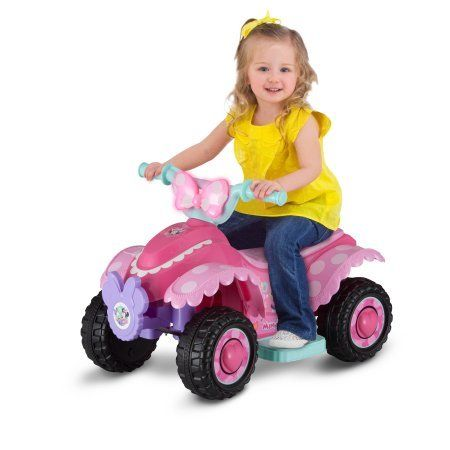 edfd00cd312f6 Price  Disney Minnie Mouse Happy Helpers 6V Battery Powered Ride-On Quad   Favorite Disney character design Minnie ride-on features top forward speed  of 2 ...