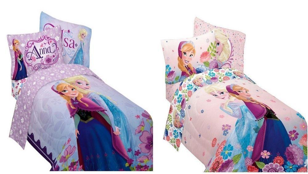 Kids Girls Disney Frozen Anna And Elsa Bed In A Bag Comforter Set