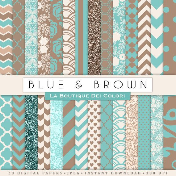 Blue And Brown Digital Paper Digital Brown And Teal Patterns Instant Download For Commercial Use Chevron Polkadots Glitter Digital Paper Pattern Digital Scrapbook Paper