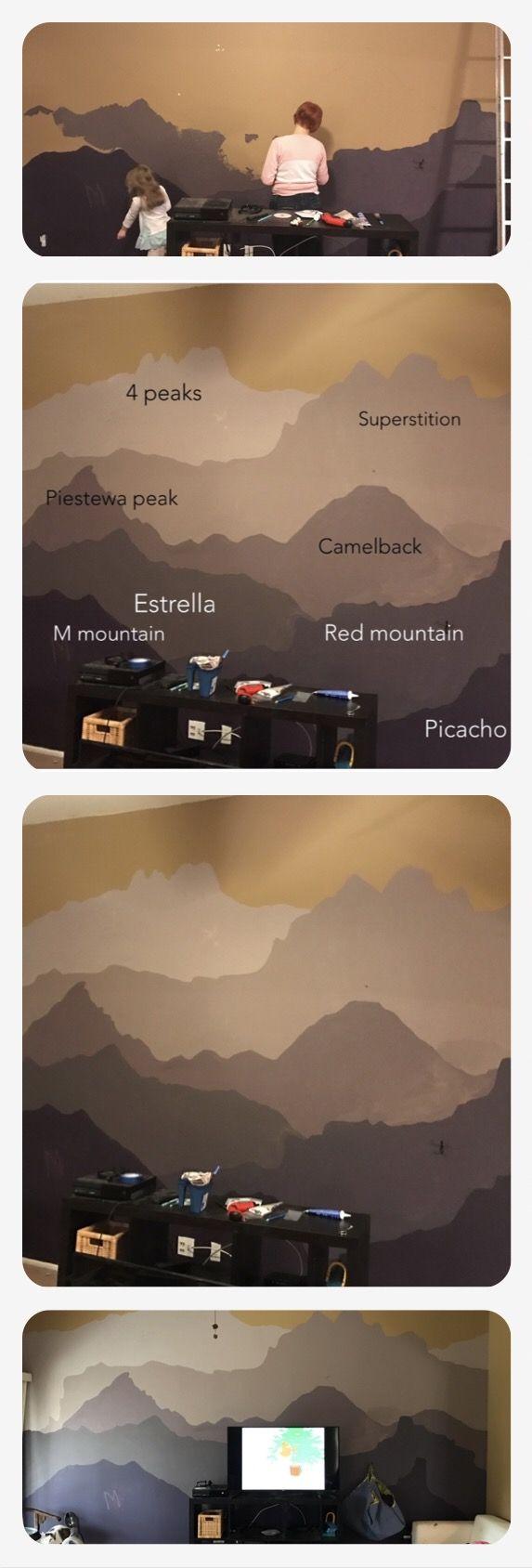 DIY Arizona mountains wall mural in purple.