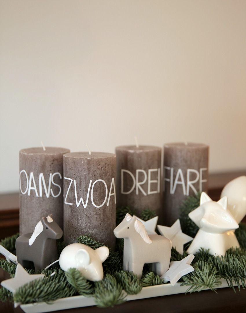 Adventskranz DIY: bayrische Kerzen für die Vorweihnachtszeit. Oans, zwoa, drei fiare – Christkind da!