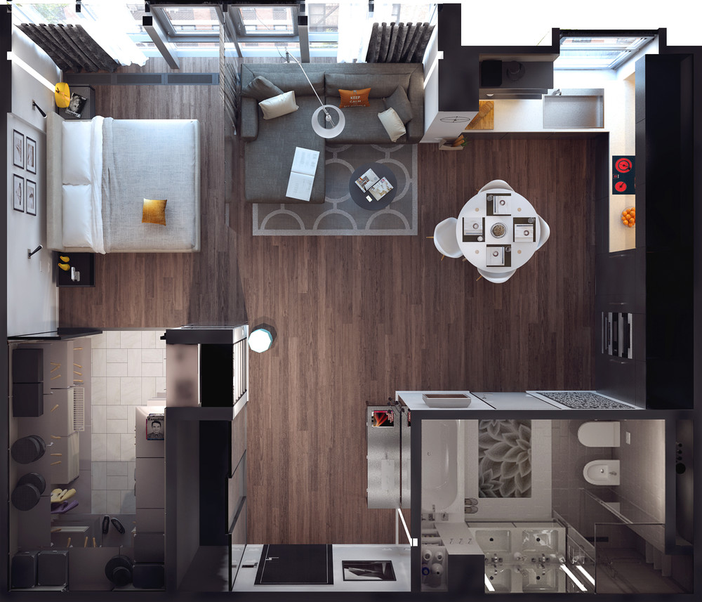 smallapartmentdesign  architectural  Studio apartment