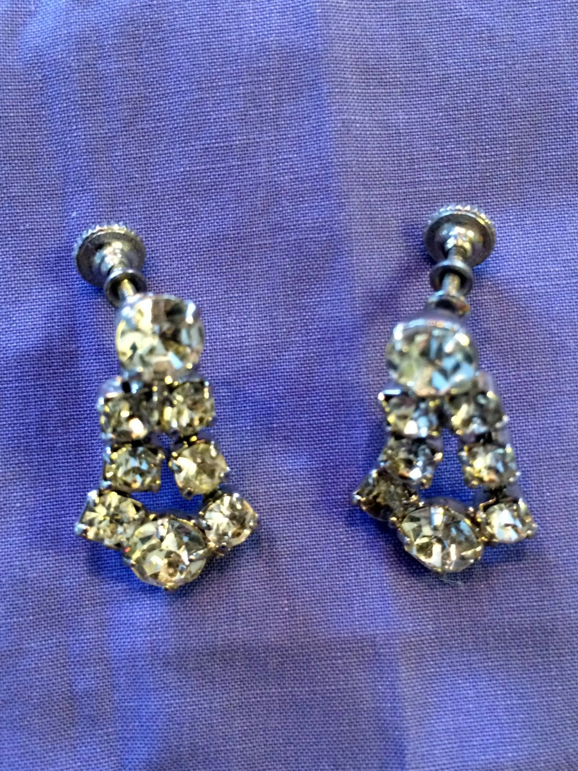 Retro Glam Earrings / Faux Diamond and Pearls / Buy 1 or All by ModernaireMCMStudios on Etsy