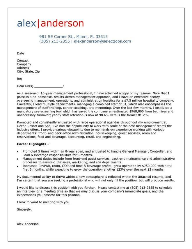 Cover Letter And Resume Template Cover Letter Example For Hospitality Manager  Cover Letter Tips