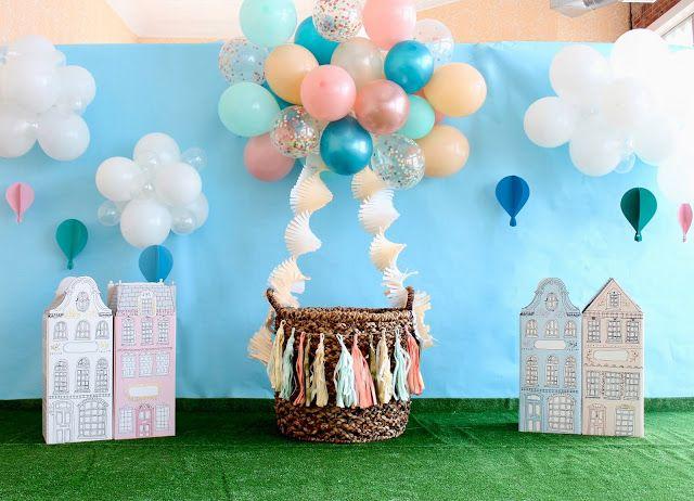 Hot Air Balloon Birthday Party Photo Backdrop With Balloon Garland Ballo Hot Air Balloon Baby Shower Hot Air Balloon Baby Shower Theme Hot Air Balloon Party