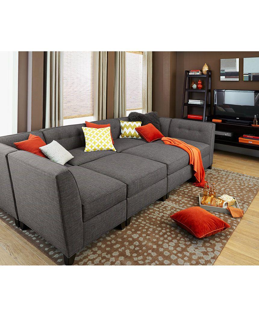 6 Piece Modular Sectional Sofa 4 Slipcover Harper Fabric Chaise Custom Colors Sofas Furniture Macy S