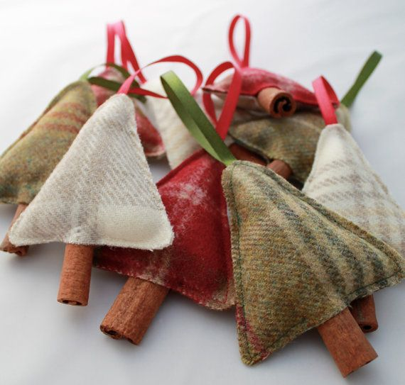 Christmas Decoration - Tweed Christmas Trees - Filled with Cloves and a Cinnamon Stick
