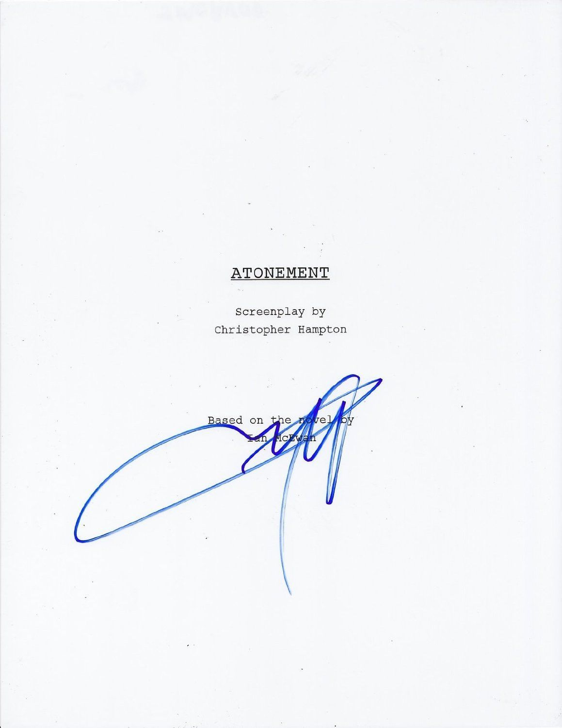 James Mcavoy Signed 'Atonement' Script Autograph Full Every Page COA