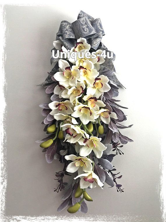 Orchid teardrop swag silk flowers real touch everyday front orchid teardrop swag silk flowers real touch everyday front door decor mightylinksfo