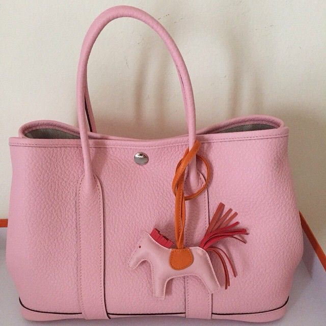 98c0d5b210b7 Garden party bag Hermes Pink Sakura Rodeo charm