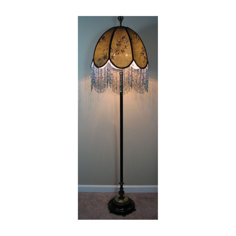 Beaded Floor Lamps: Vintage Floor Lamp with Victorian Lamp Shade - Evening in the Orient 0409.  $2,100.00,,Lighting