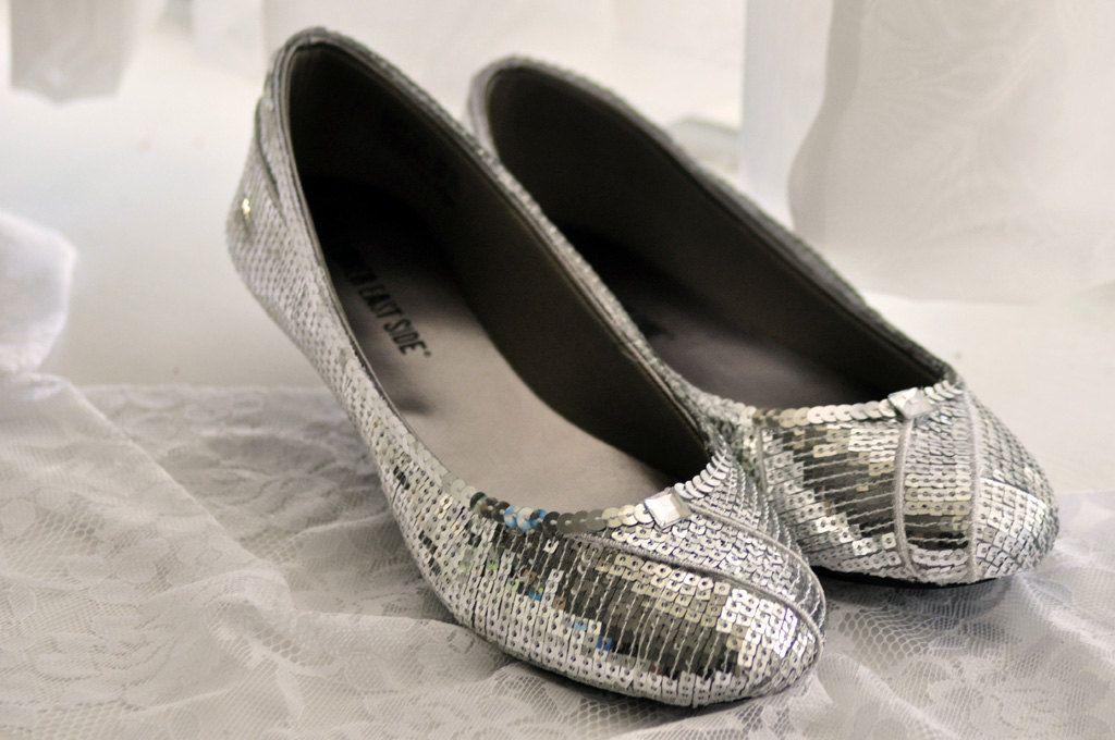 New Silver Cinderella Sequin Ballet Flat Slippers 34 00 Via Etsy Marisa Faye