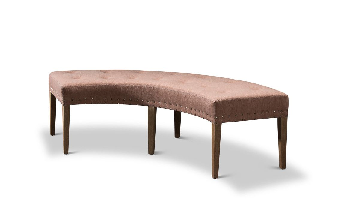 Phenomenal Peach Fabric Upholstered Bench Decor With Tufted Seat With Caraccident5 Cool Chair Designs And Ideas Caraccident5Info