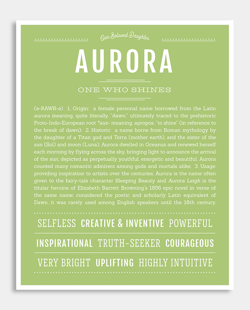 Aurora | Classic Name Print | Names with meaning, Classic ...