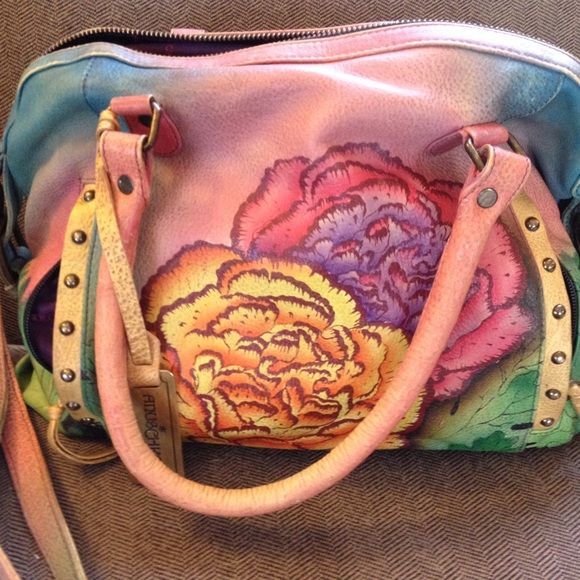 Authentic Anushka bag Like new. Colorfully hand painted leather, signed by  artist. Bag is 13