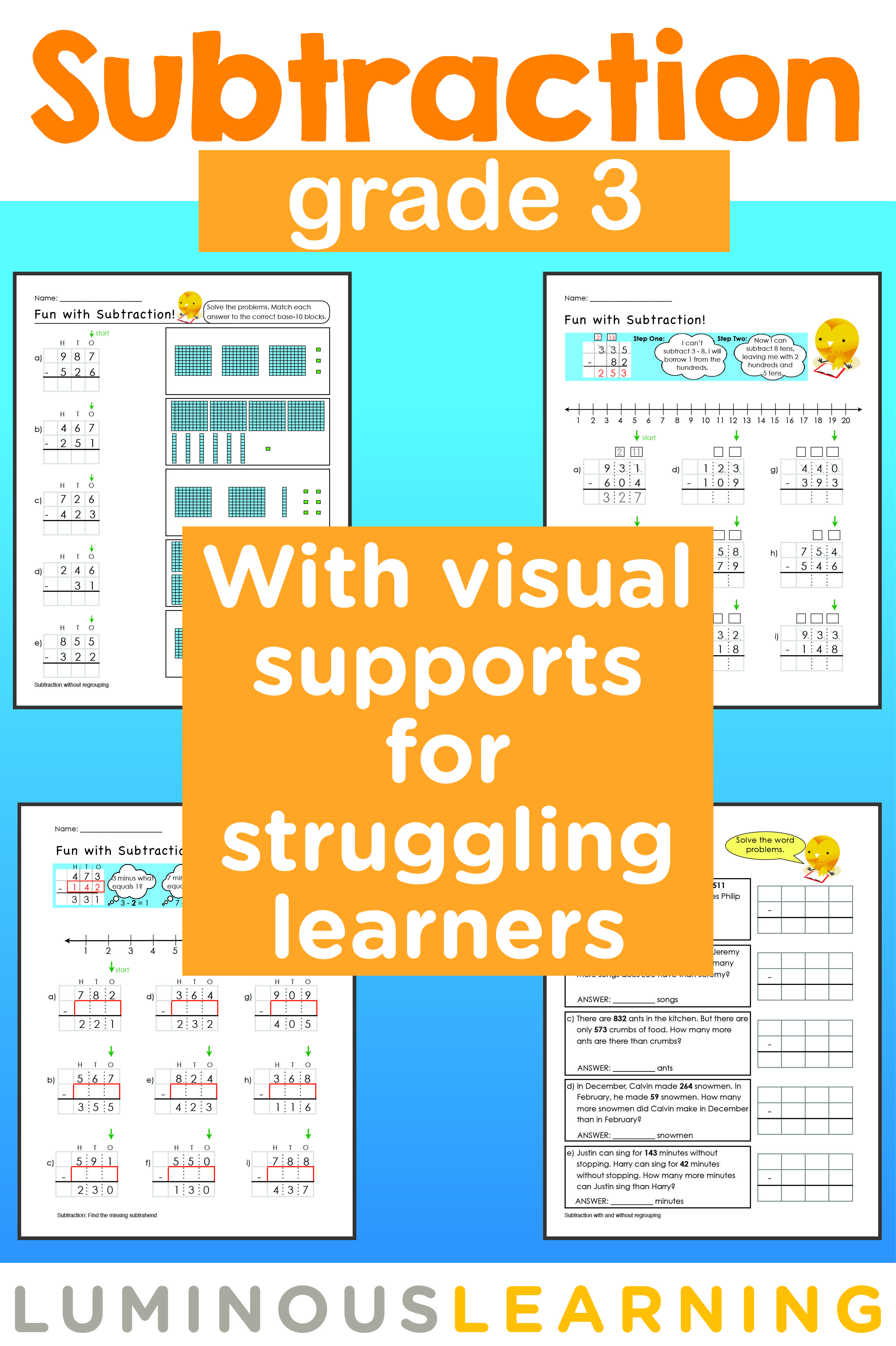 Luminous Learning Grade 3 Subtraction Workbook Making