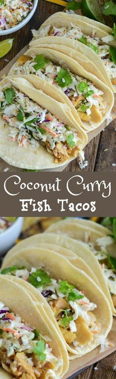 Coconut Curry Fish Tacos! Easy quick and healthy dinner with a ton of flavor featuring /chickenofthesea/ tilapia curry flavor pouches!