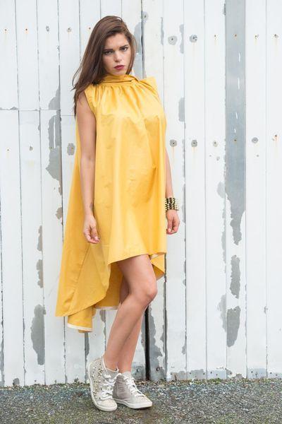Draped Mustard Dress from Metamorphoza by DaWanda.com