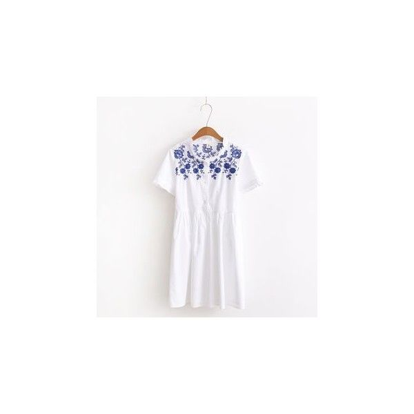 Floral Embroidered Short-Sleeve A-Line Dress ($16) ❤ liked on Polyvore featuring dresses, women, white cotton dress, short sleeve dress, cotton dress, a line dress and white day dress