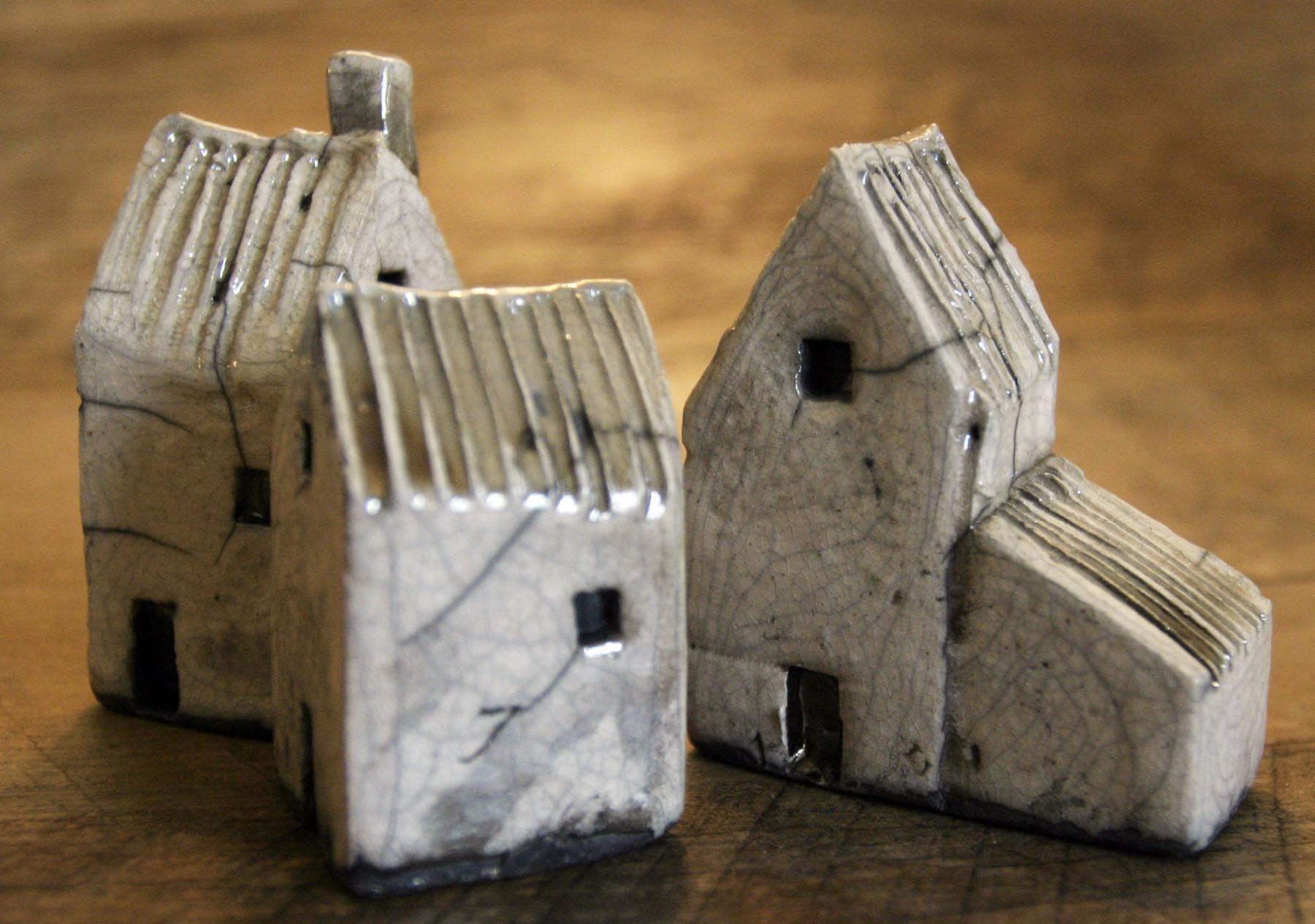 Small Raku Houses, Mark Strayer, North Star Pottery