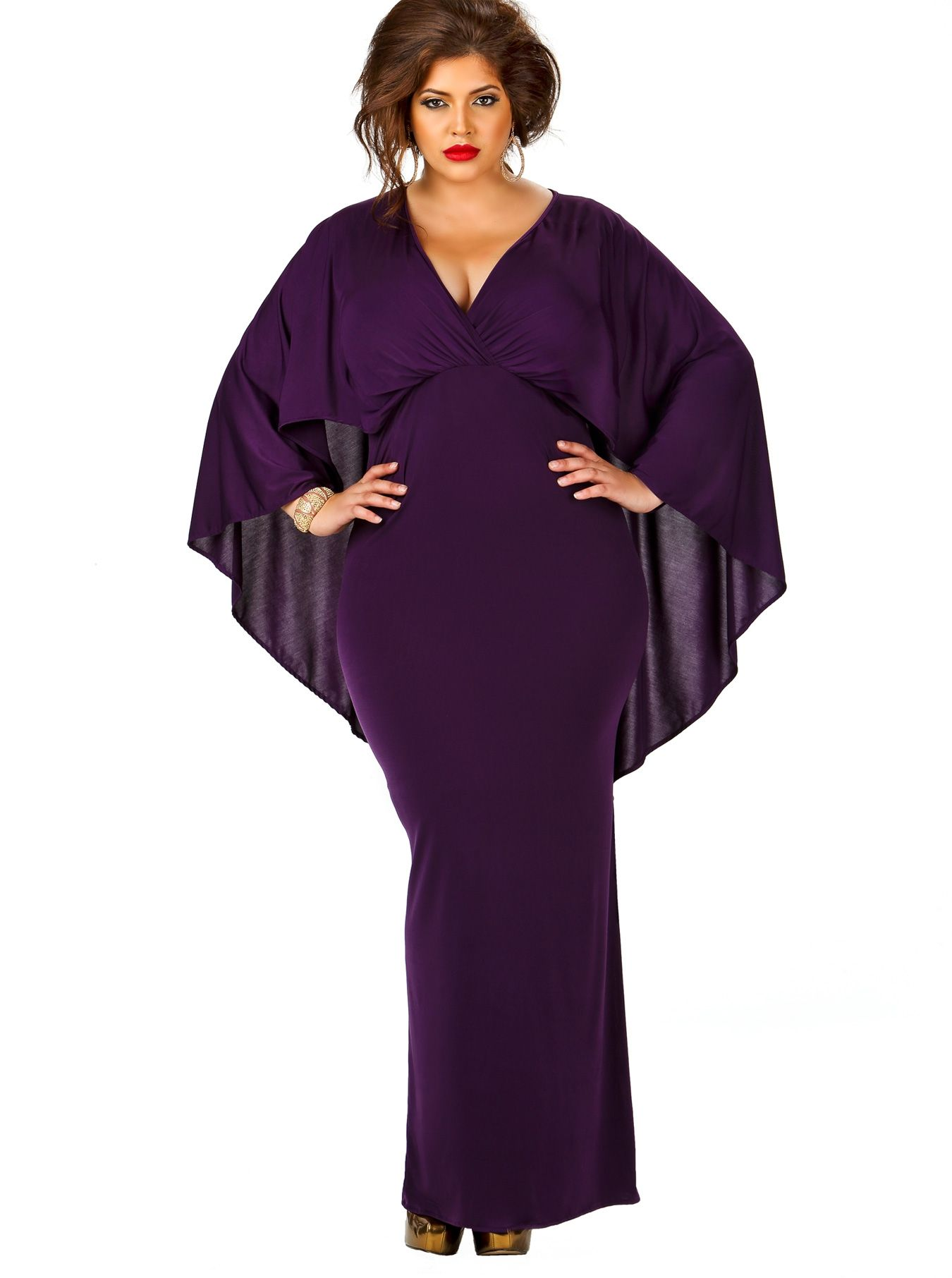d18577486e1a Purple Cape-back maxi dress with long sleeves and surplice ruched bodice.  by Monif C.