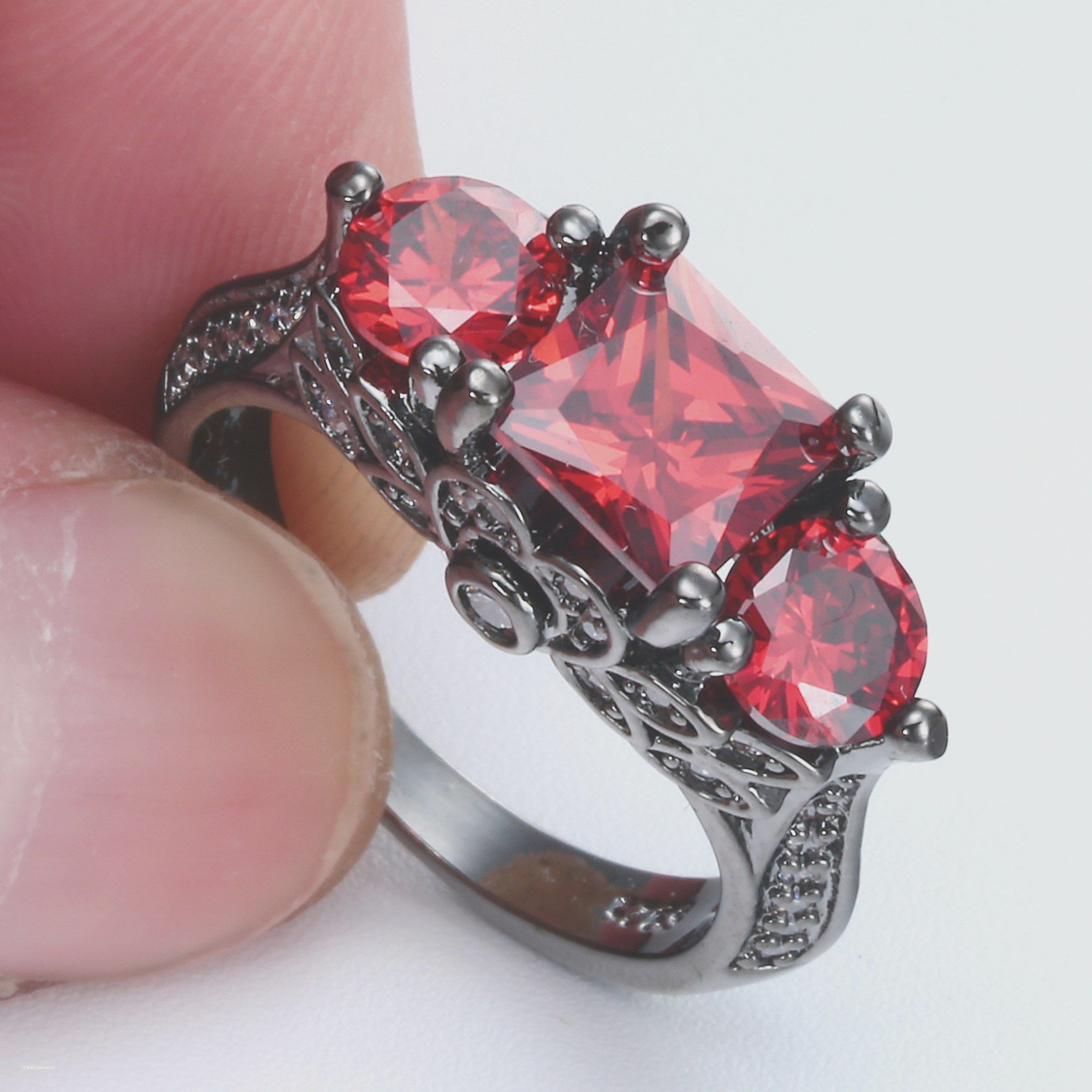 gold fancy pin cut with diamond ring red a white diamonds and brilliant rings