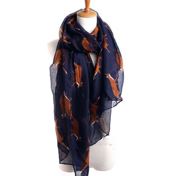 NEW Navy Blue Whimsical Fox Scarf Grey whimsical fox scarf. Also available in grey and oatmeal/taupe colors in separate listings. New without tags. Accessories Scarves & Wraps