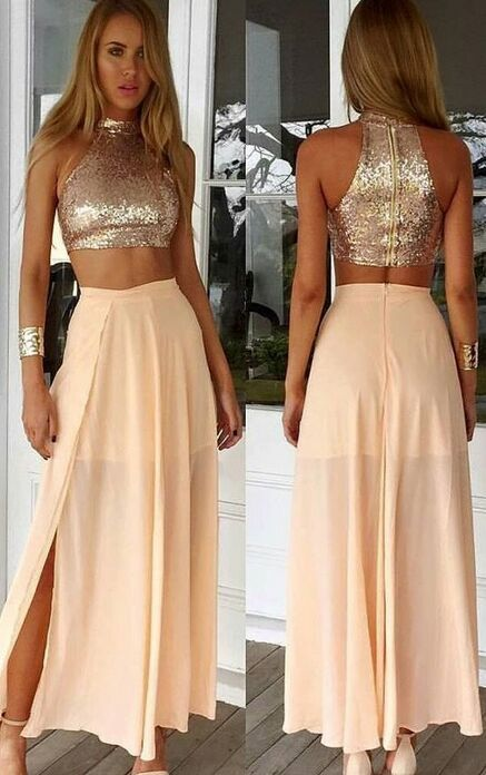 Simple Two Pieces Prom Dresses For Teens Champagne Chiffon Prom Gowns Women Dresses Handmade Evening Gowns Party Prom Dresses Prom Dresses For Teens Prom Dresses Two Piece Top Prom Dresses