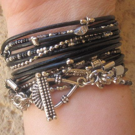 Boho Bracelet Leather Wrap Wrap Bracelet Boho Chic door DesignsbyNoa