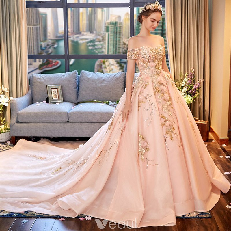 07734bde9cf4 Luxury / Gorgeous Blushing Pink Wedding Dresses 2018 Ball Gown  Off-The-Shoulder Short Sleeve Backless Beading Appliques Flower Rhinestone  Ruffle Royal Train