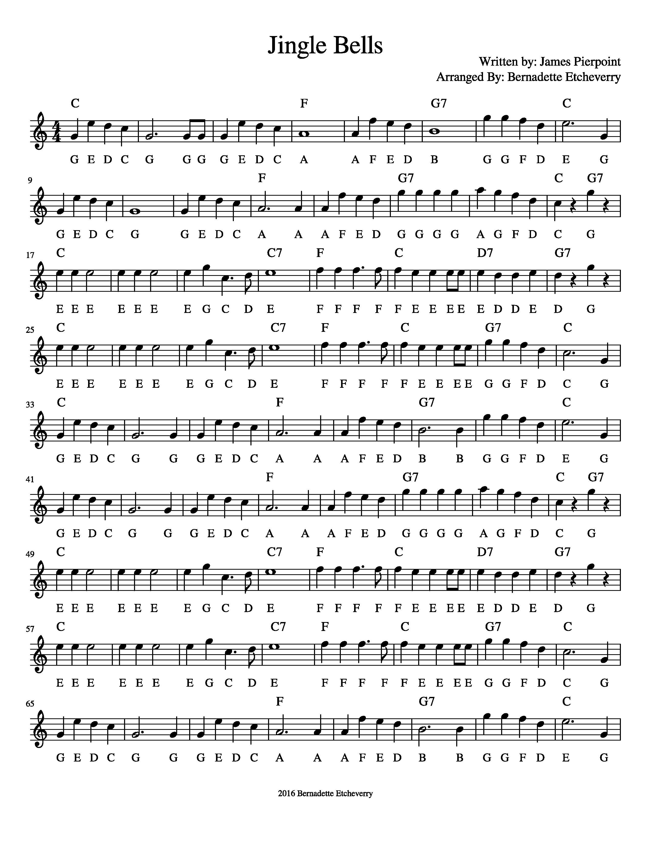 Free Sheet Music Jingle Bells for Pitched Percussion Ukulele & Guitar tab