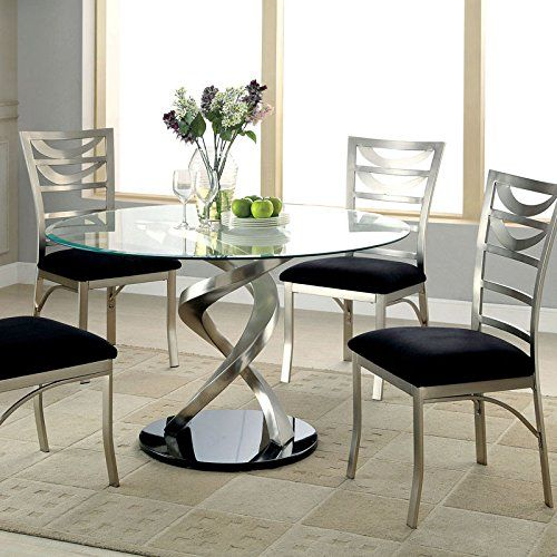 8c4b9b056e8a5 Furniture of America Sculpture I Contemporary Glass Top Round Dining Table  (Satin)