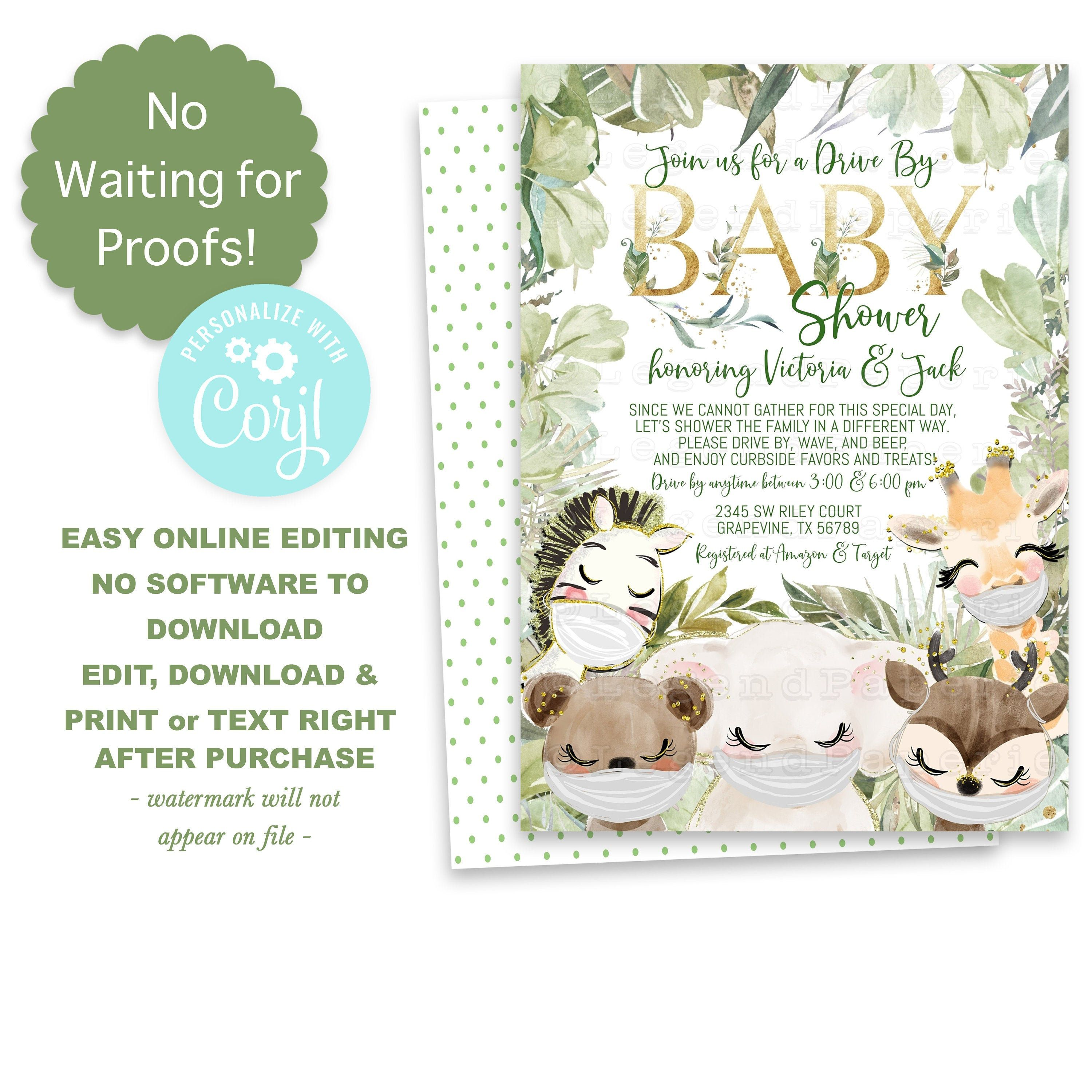 Gender Neutral Drive By Baby Shower Invitationgreenery Baby Etsy Animal Baby Shower Invitations Baby Shower Invites For Girl Virtual Baby Shower Invitation
