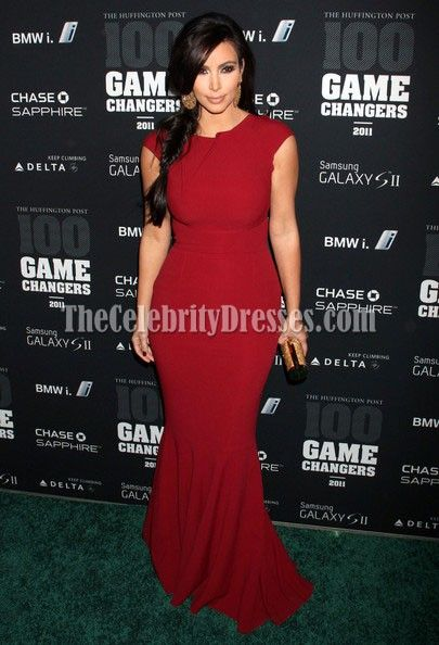 Kim Kardashian Red Prom Formal Dress Game Changers Awards | Dress ...