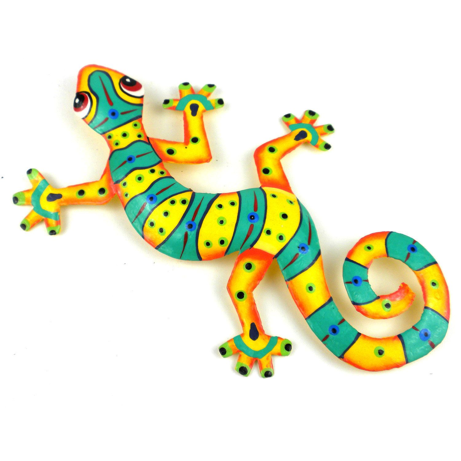 Global crafts hand painted eight inch metal ugreen stripesu gecko