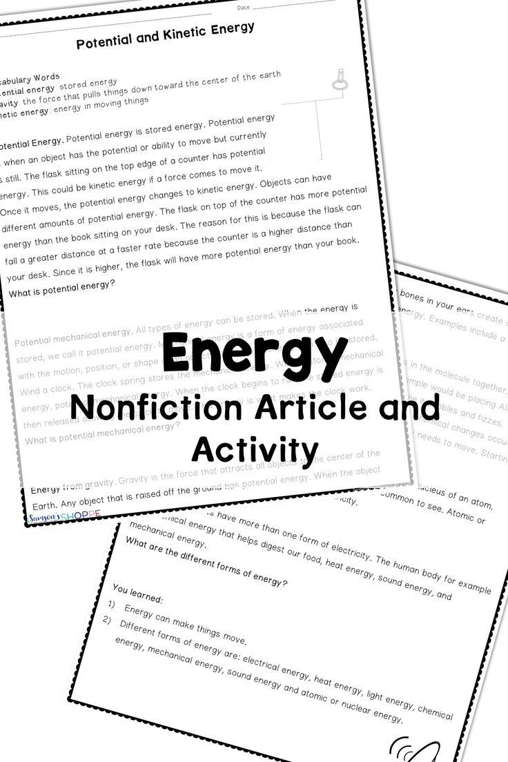 Energy Potential Kinetic and Forms Vocabulary Nonfiction