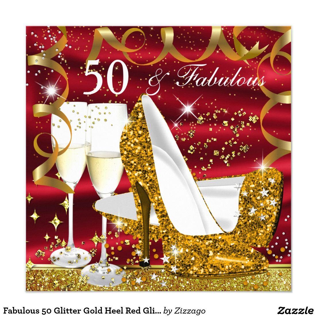 Fabulous 50 Glitter Gold Heel Red Glitz Glam Party Invitation ...