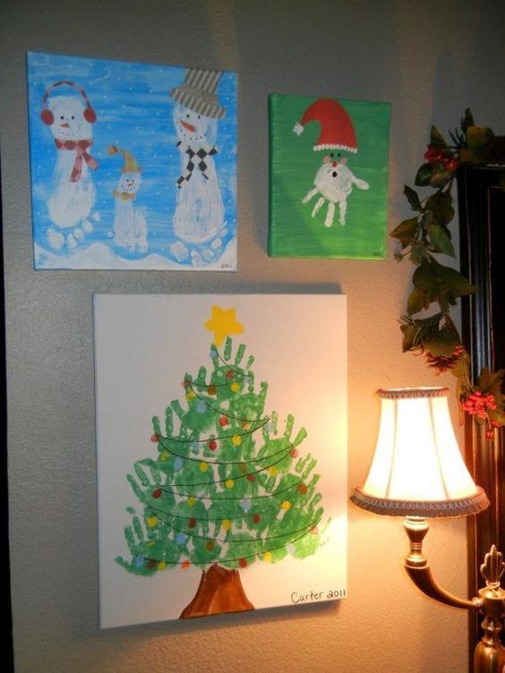 Handabdruck bilder kinder leinwand kunstwerke weihnachten - Leinwand dekorieren ...