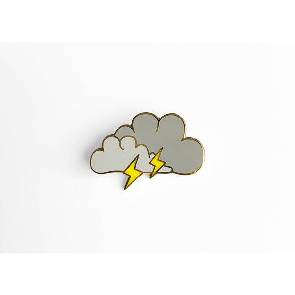 Lightning Cloud Enamel Pin Sleepy Mountain Gold Pin ($10) ❤ liked on Polyvore featuring jewelry, brooches, gold enamel jewelry, gold brooch, gold jewelry, gold jewellery and pin brooch