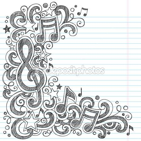 I Love Music Back To School Sketchy Notebook Doodles