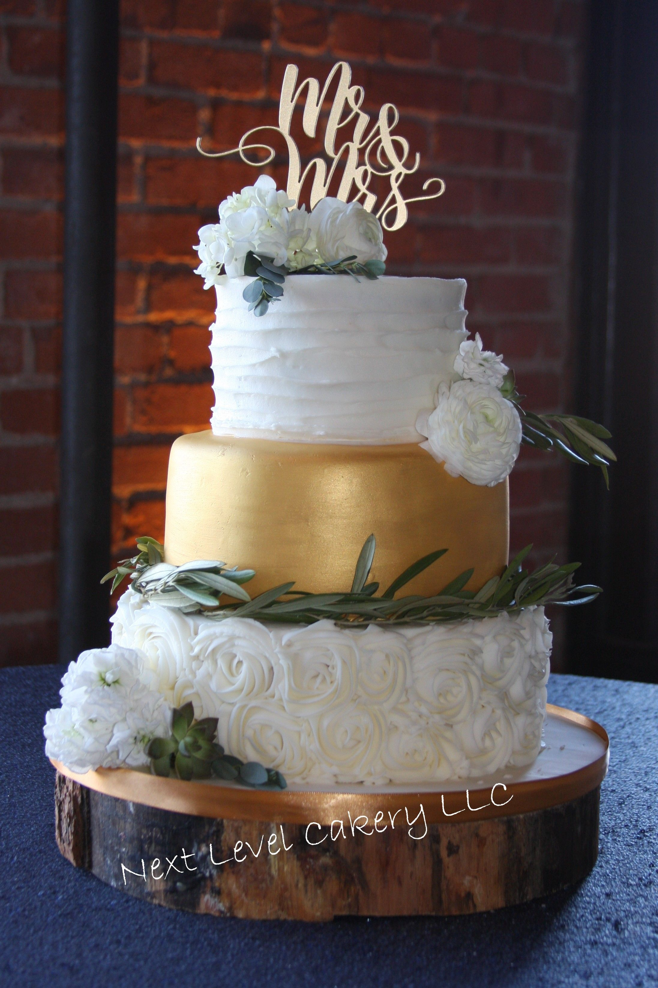 Rustic Wedding Cake Gold And White Flowers Rosettes Next Level