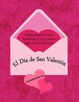 valentine 39 s day spanish san valentin bundle of activities educacion clase de espa ol. Black Bedroom Furniture Sets. Home Design Ideas