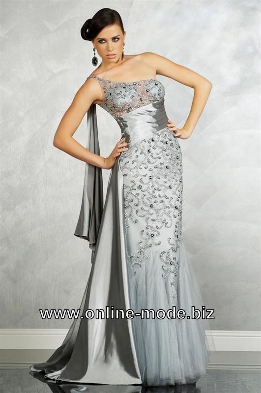 Silber Graues Diana Träger Abendkleid Online | Abendkleid ...